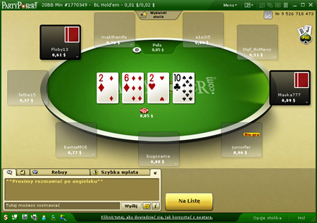 Party Poker Cash Game Table