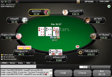 Poker mobile game ui