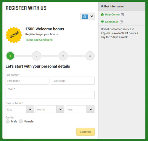 Unibet Registration