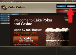 Create Account at Cake Poker