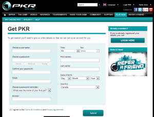 PKR.com Registration Form